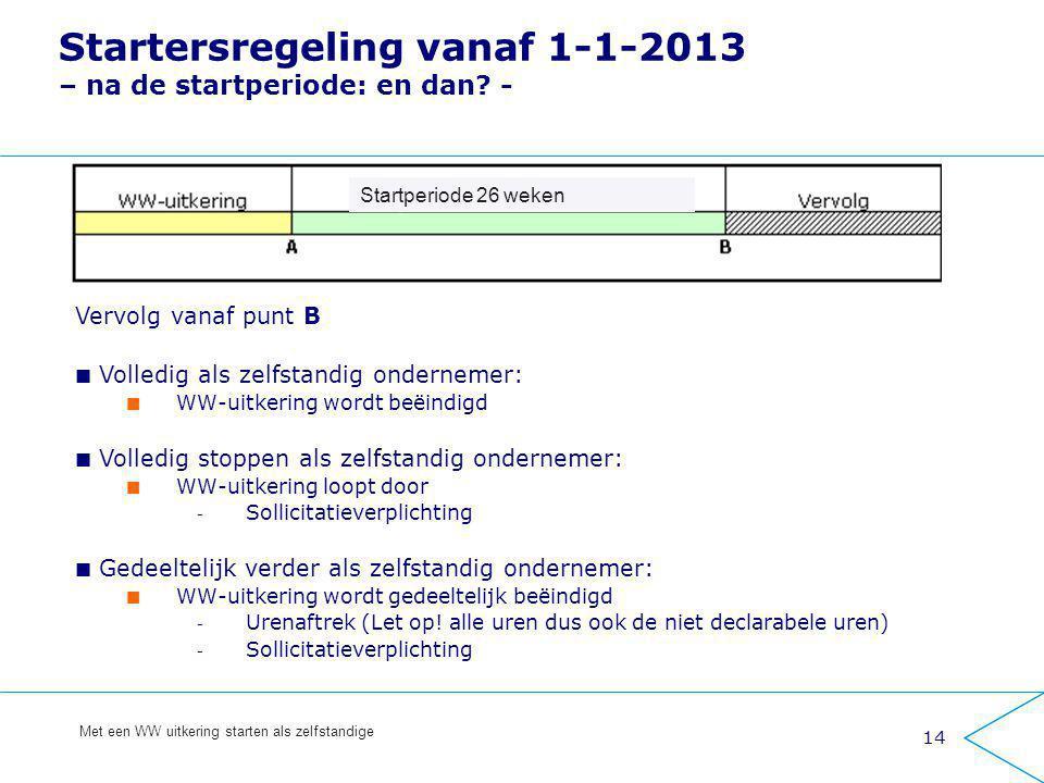 14 Met een WW uitkering starten als zelfstandige Startersregeling vanaf 1-1-2013 – na de startperiode: en dan? - Vervolg vanaf punt B Volledig als zel