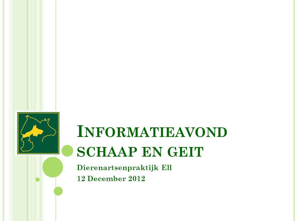 I NFORMATIEAVOND SCHAAP EN GEIT Dierenartsenpraktijk Ell 12 December 2012