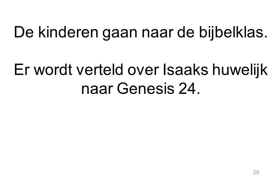 29 De kinderen gaan naar de bijbelklas. Er wordt verteld over Isaaks huwelijk naar Genesis 24.