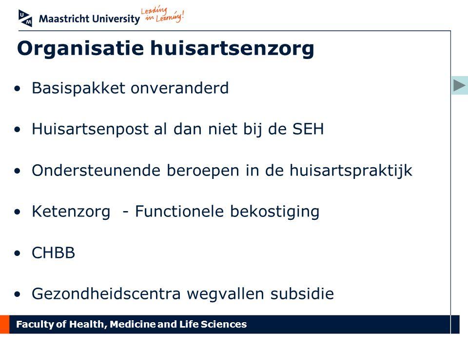 Faculty of Health, Medicine and Life Sciences Organisatie huisartsenzorg Basispakket onveranderd Huisartsenpost al dan niet bij de SEH Ondersteunende