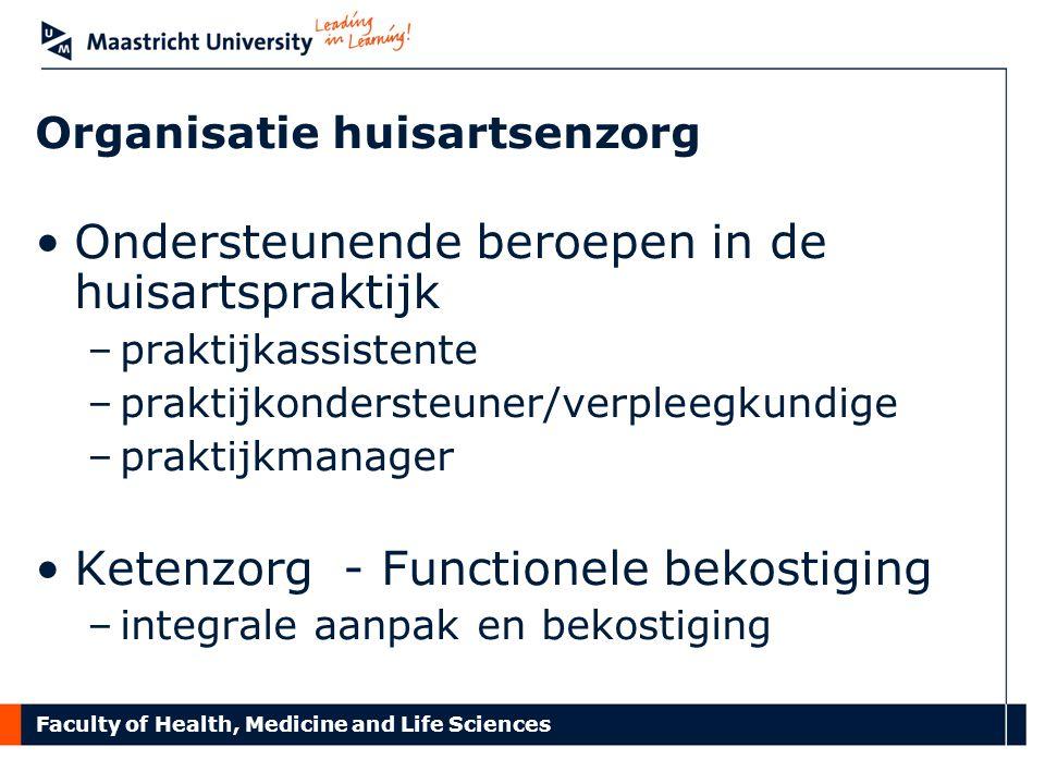 Faculty of Health, Medicine and Life Sciences Organisatie huisartsenzorg Ondersteunende beroepen in de huisartspraktijk –praktijkassistente –praktijko
