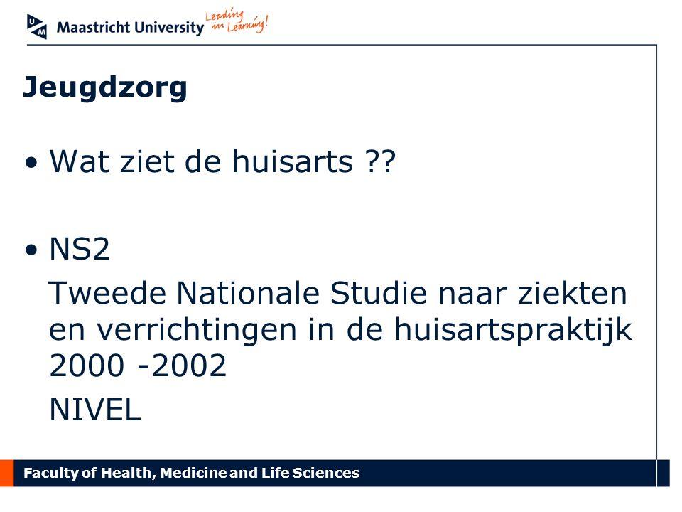 Faculty of Health, Medicine and Life Sciences Jeugdzorg Wat ziet de huisarts ?? NS2 Tweede Nationale Studie naar ziekten en verrichtingen in de huisar