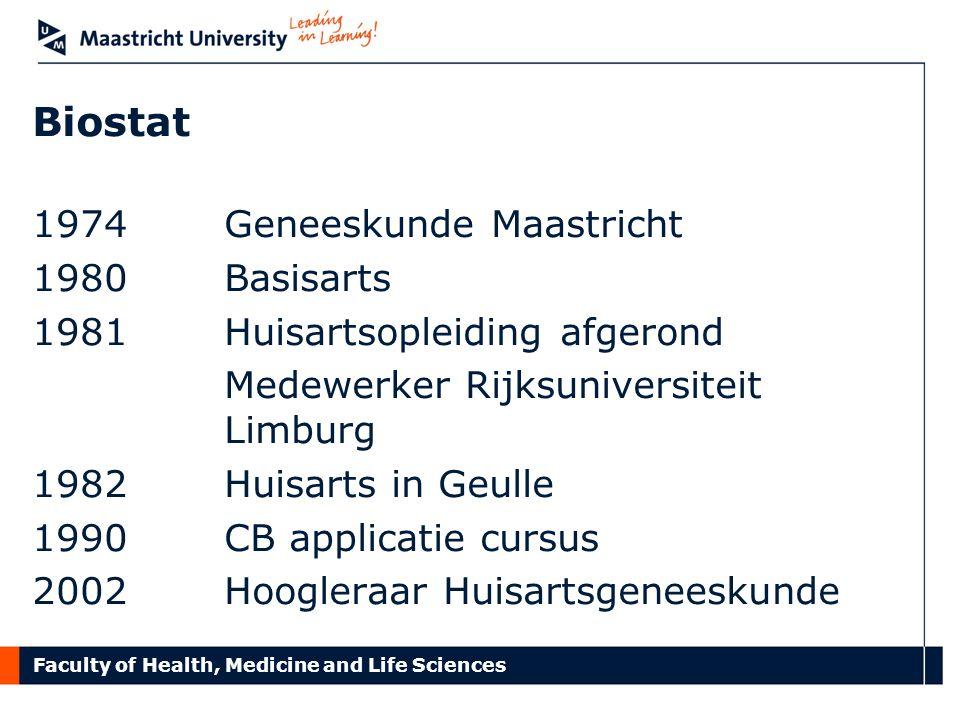 Faculty of Health, Medicine and Life Sciences Biostat 1974 Geneeskunde Maastricht 1980 Basisarts 1981 Huisartsopleiding afgerond Medewerker Rijksunive