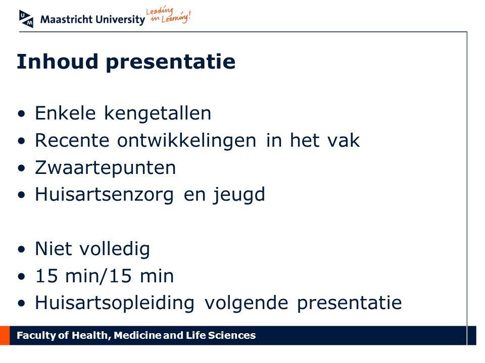 Faculty of Health, Medicine and Life Sciences Inhoud presentatie Enkele kengetallen Recente ontwikkelingen in het vak Zwaartepunten Huisartsenzorg en