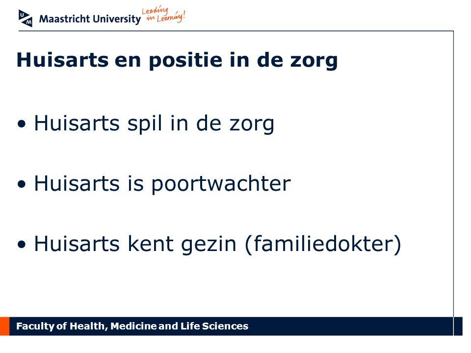 Faculty of Health, Medicine and Life Sciences Huisarts en positie in de zorg Huisarts spil in de zorg Huisarts is poortwachter Huisarts kent gezin (fa