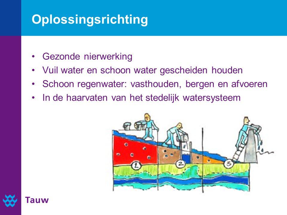 Gezonde nierwerking Vuil water en schoon water gescheiden houden Schoon regenwater: vasthouden, bergen en afvoeren In de haarvaten van het stedelijk watersysteem Oplossingsrichting