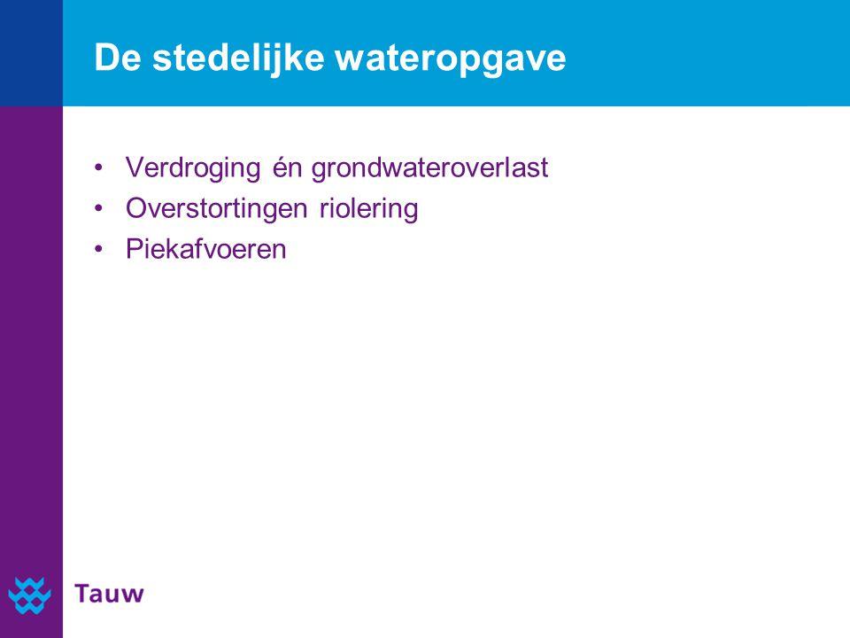 De stedelijke wateropgave Verdroging én grondwateroverlast Overstortingen riolering Piekafvoeren