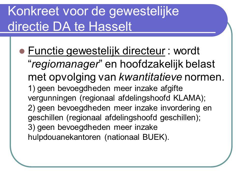 """Konkreet voor de gewestelijke directie DA te Hasselt Functie gewestelijk directeur : wordt """"regiomanager"""" en hoofdzakelijk belast met opvolging van kw"""