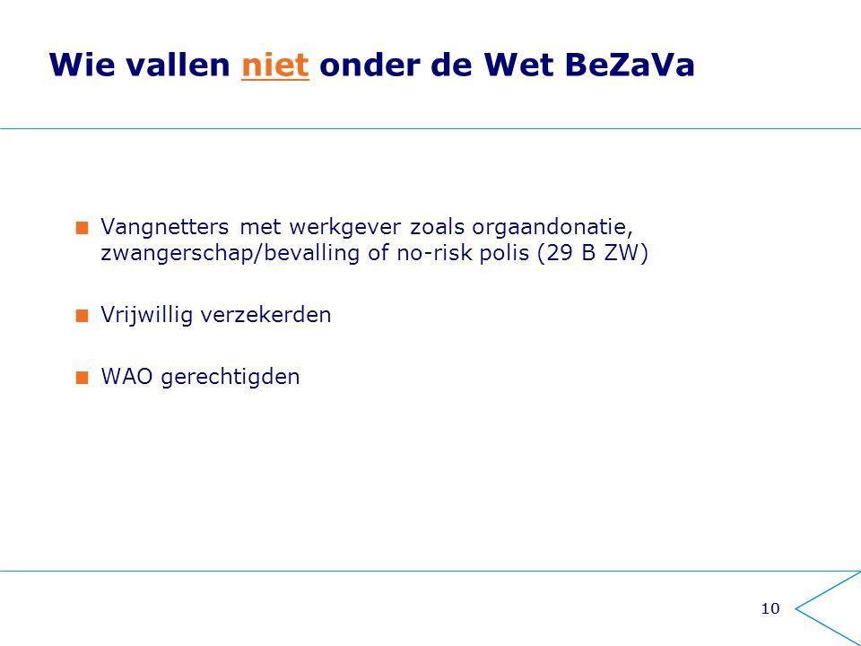10 Wie vallen niet onder de Wet BeZaVa Vangnetters met werkgever zoals orgaandonatie, zwangerschap/bevalling of no-risk polis (29 B ZW) Vrijwillig ver