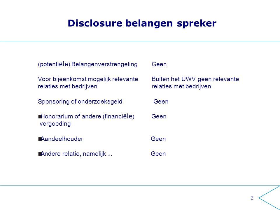 2 Disclosure belangen spreker (potenti ële ) Belangenverstrengeling Geen Voor bijeenkomst mogelijk relevante Buiten het UWV geen relevante relaties me