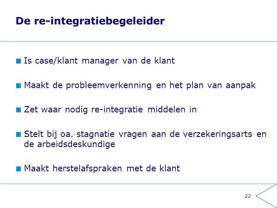 22 De re-integratiebegeleider Is case/klant manager van de klant Maakt de probleemverkenning en het plan van aanpak Zet waar nodig re-integratie midde