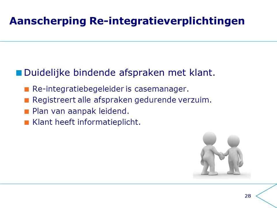 28 Aanscherping Re-integratieverplichtingen Duidelijke bindende afspraken met klant. Re-integratiebegeleider is casemanager. Registreert alle afsprake