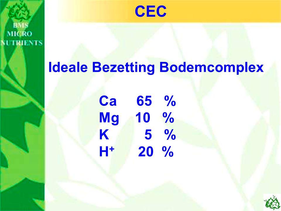 Ideale Bezetting Bodemcomplex Ca 65 % Mg 10 % K 5 % H + 20 % CEC