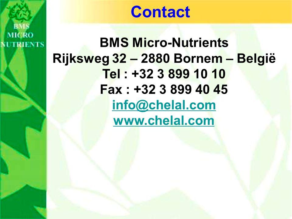 BMS Micro-Nutrients Rijksweg 32 – 2880 Bornem – België Tel : +32 3 899 10 10 Fax : +32 3 899 40 45 info@chelal.com www.chelal.com Contact