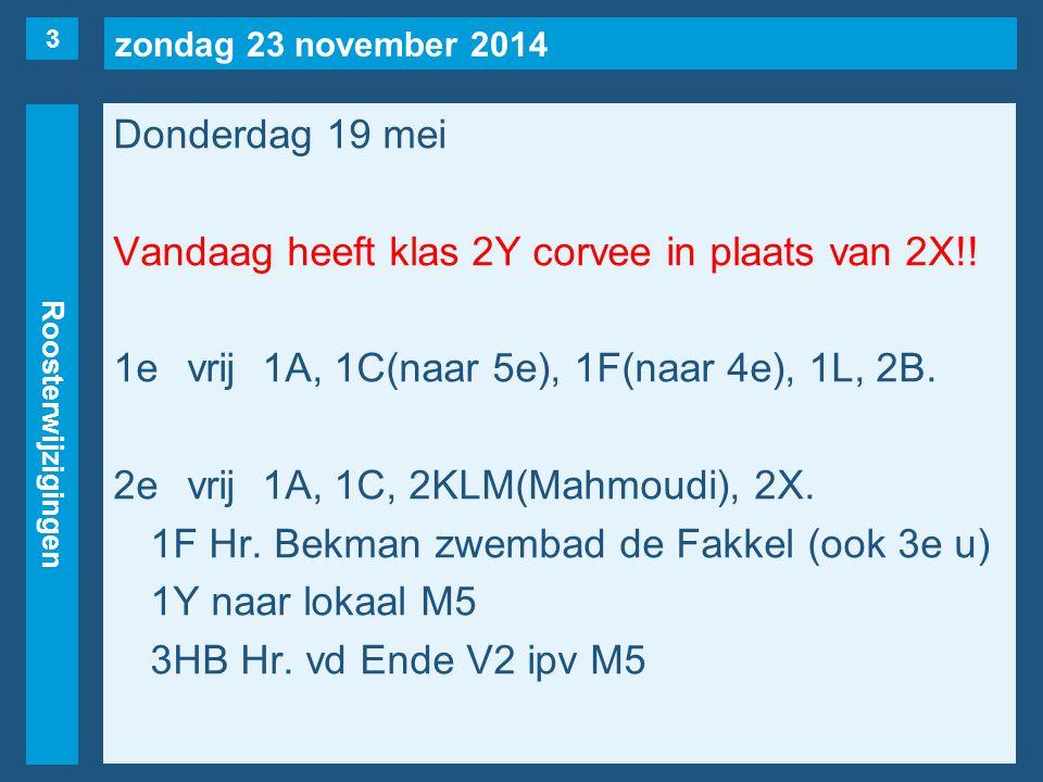zondag 23 november 2014 Roosterwijzigingen Vrijdag 20 mei 7evrij1B(naar 2e), 1E, 2K, 2M.