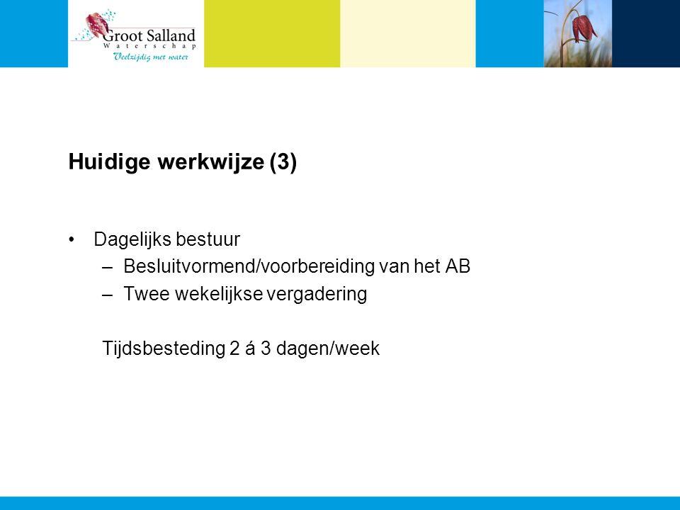 Huidige werkwijze (3) Dagelijks bestuur –Besluitvormend/voorbereiding van het AB –Twee wekelijkse vergadering Tijdsbesteding 2 á 3 dagen/week