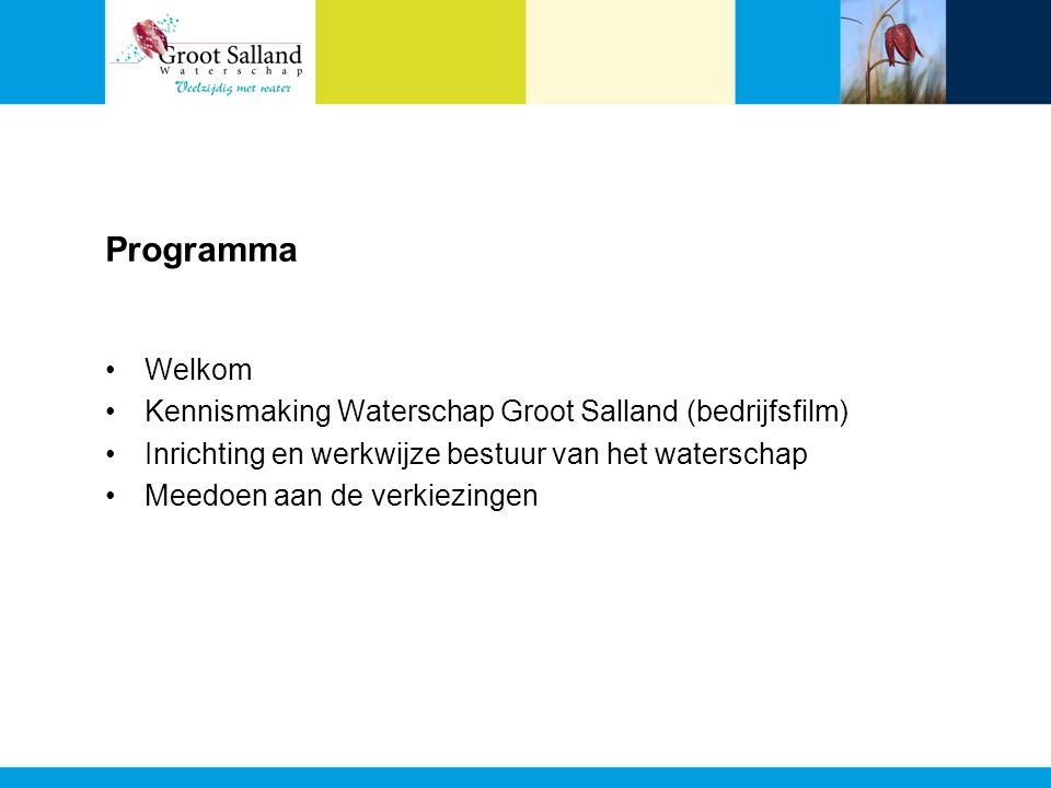 Programma Welkom Kennismaking Waterschap Groot Salland (bedrijfsfilm) Inrichting en werkwijze bestuur van het waterschap Meedoen aan de verkiezingen