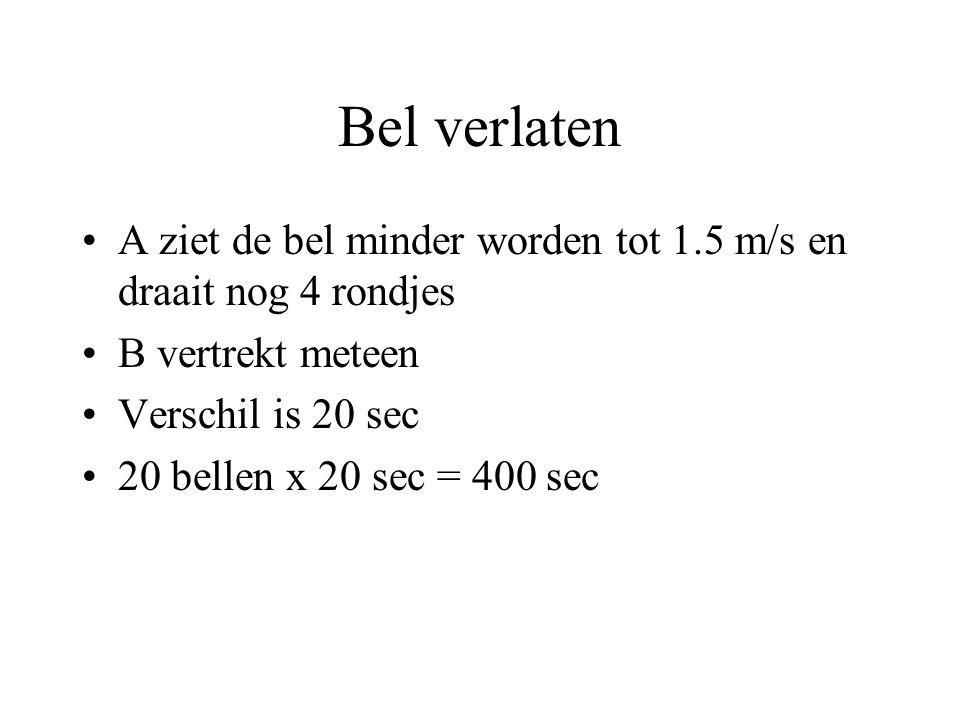 Bel verlaten A ziet de bel minder worden tot 1.5 m/s en draait nog 4 rondjes B vertrekt meteen Verschil is 20 sec 20 bellen x 20 sec = 400 sec