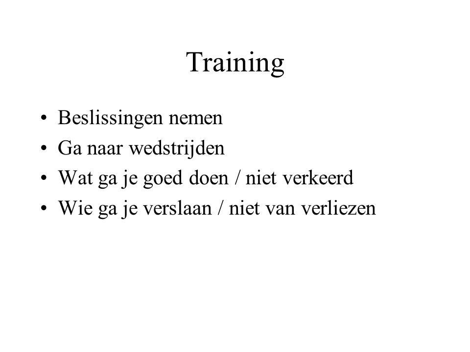 Training Beslissingen nemen Ga naar wedstrijden Wat ga je goed doen / niet verkeerd Wie ga je verslaan / niet van verliezen