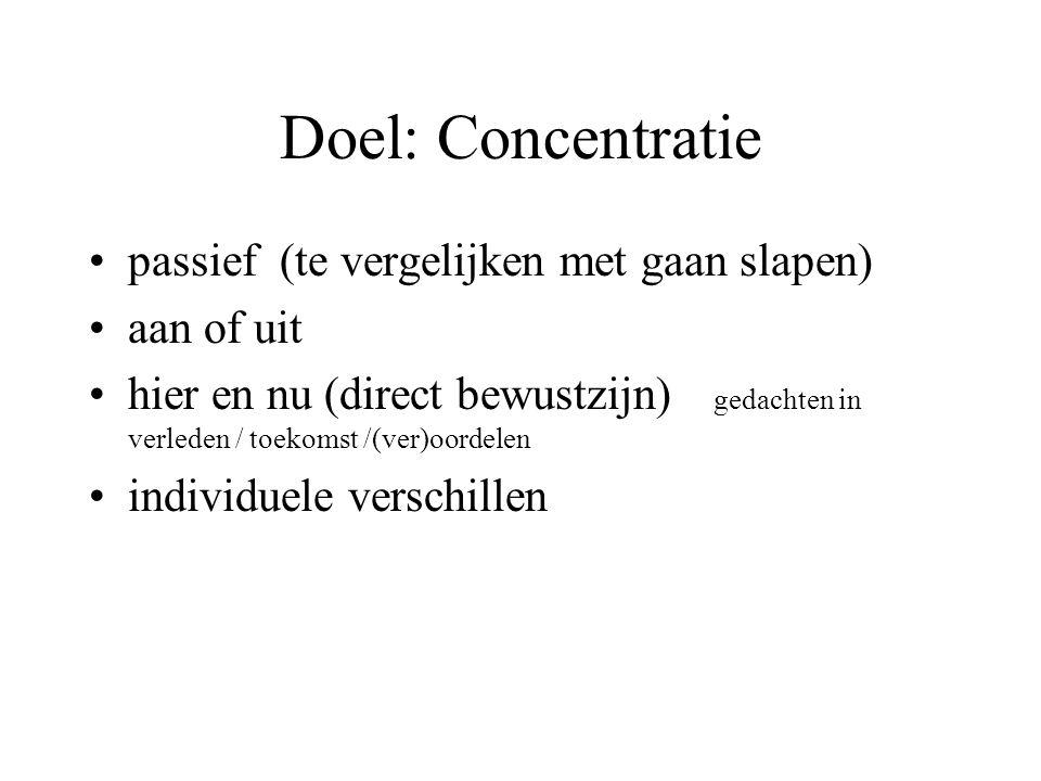 Doel: Concentratie passief (te vergelijken met gaan slapen) aan of uit hier en nu (direct bewustzijn) gedachten in verleden / toekomst /(ver)oordelen individuele verschillen