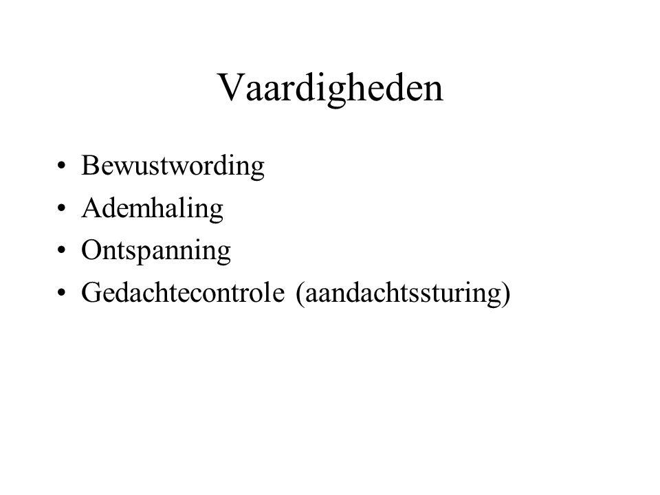 Vaardigheden Bewustwording Ademhaling Ontspanning Gedachtecontrole (aandachtssturing)
