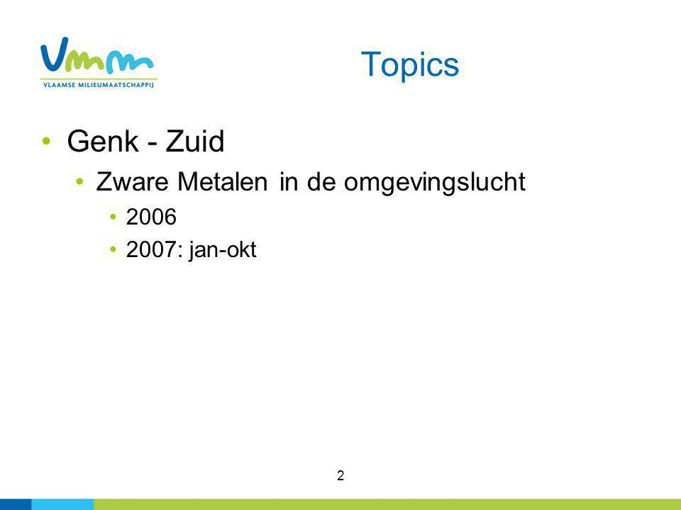 2 Topics Genk - Zuid Zware Metalen in de omgevingslucht 2006 2007: jan-okt