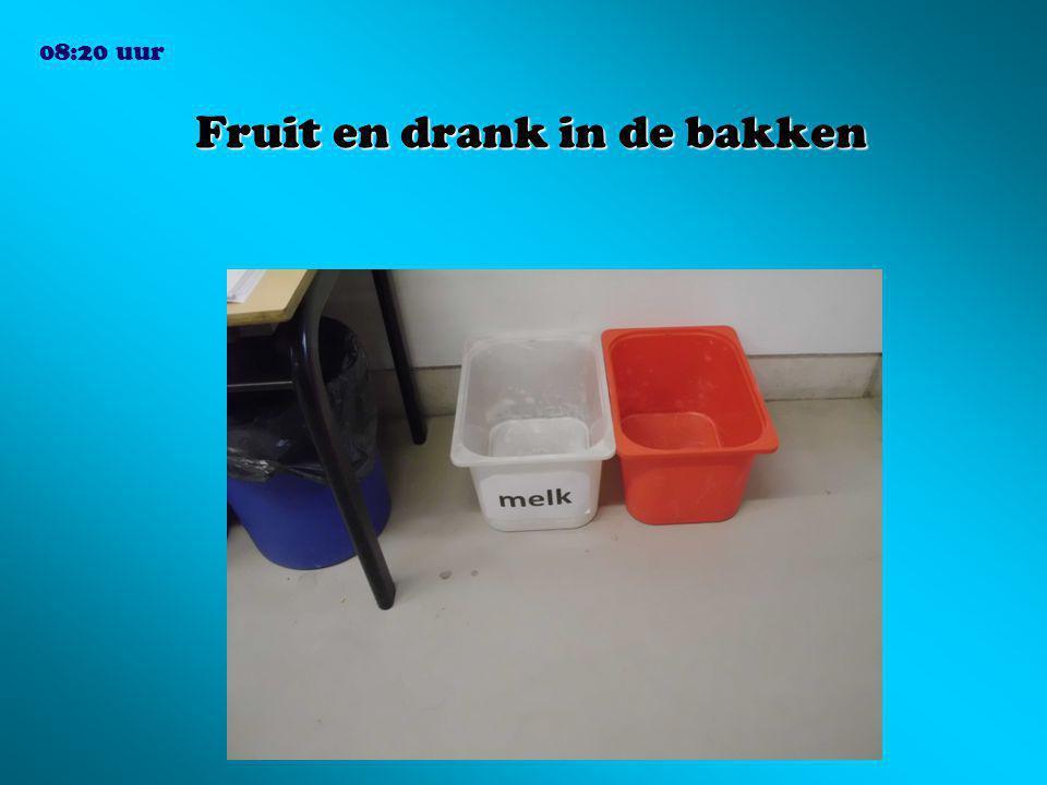 Fruit en drank in de bakken 08:20 uur