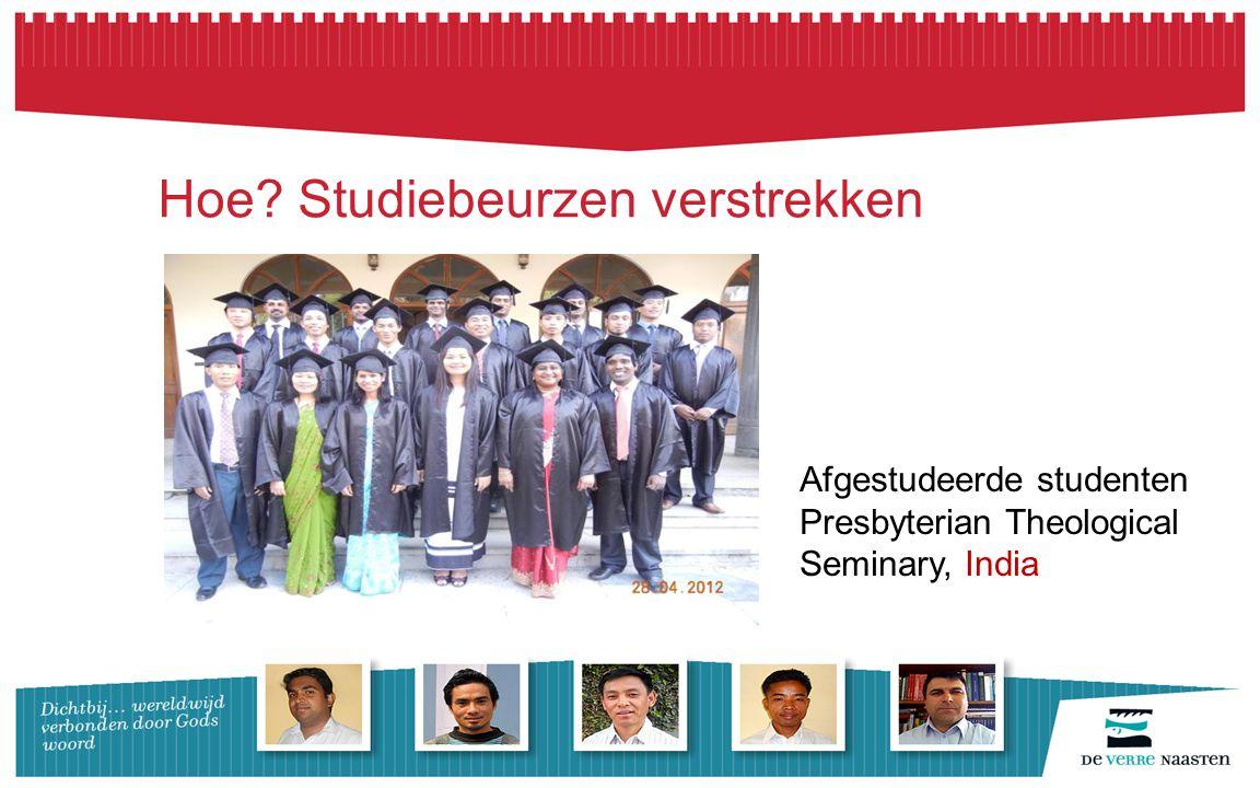 Hoe? Studiebeurzen verstrekken Afgestudeerde studenten Presbyterian Theological Seminary, India