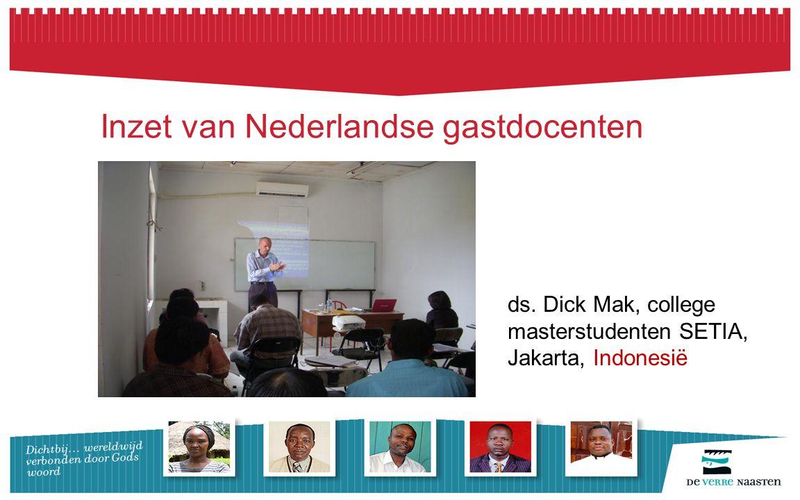Inzet van Nederlandse gastdocenten ds. Dick Mak, college masterstudenten SETIA, Jakarta, Indonesië