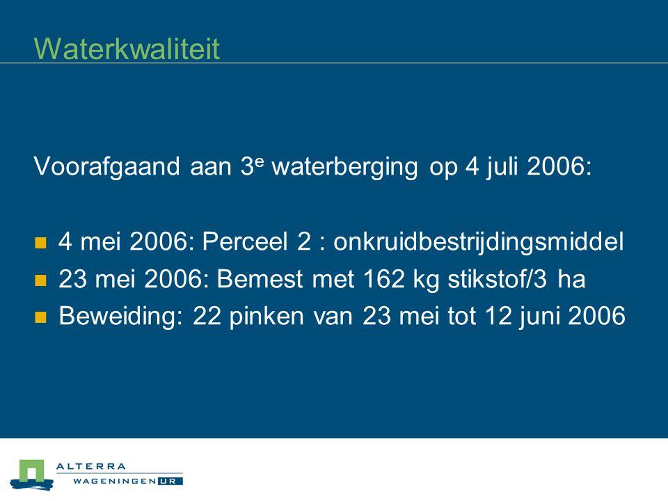 Waterkwaliteit Voorafgaand aan 3 e waterberging op 4 juli 2006: 4 mei 2006: Perceel 2 : onkruidbestrijdingsmiddel 23 mei 2006: Bemest met 162 kg stikstof/3 ha Beweiding: 22 pinken van 23 mei tot 12 juni 2006
