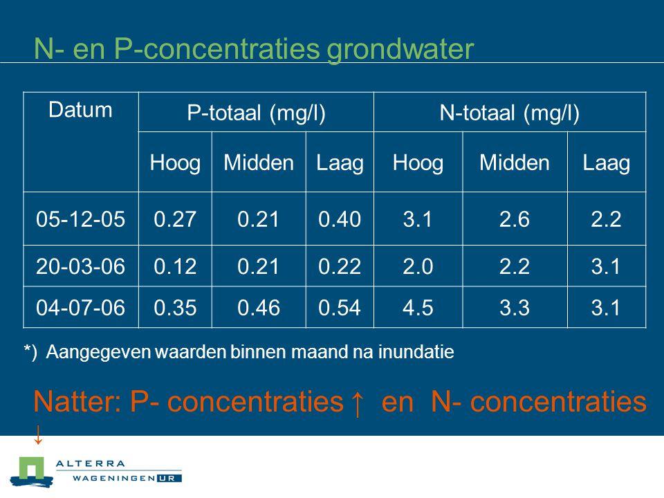 N- en P-concentraties grondwater Datum P-totaal (mg/l)N-totaal (mg/l) HoogMiddenLaagHoogMiddenLaag 05-12-050.270.210.403.12.62.2 20-03-060.120.210.222.02.23.1 04-07-060.350.460.544.53.33.1 *) Aangegeven waarden binnen maand na inundatie Natter: P- concentraties ↑ en N- concentraties ↓