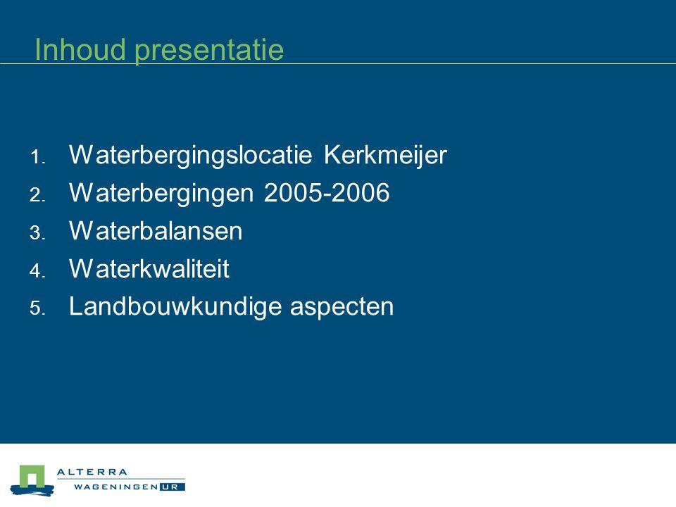 Inhoud presentatie  Waterbergingslocatie Kerkmeijer  Waterbergingen 2005-2006  Waterbalansen  Waterkwaliteit  Landbouwkundige aspecten