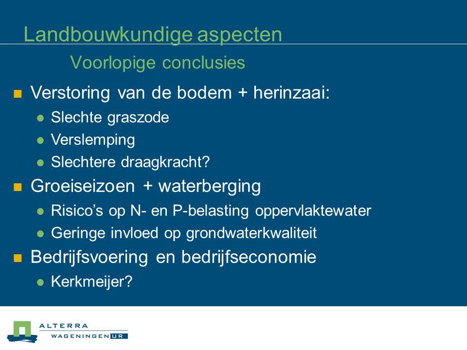 Landbouwkundige aspecten Voorlopige conclusies Verstoring van de bodem + herinzaai: Slechte graszode Verslemping Slechtere draagkracht.