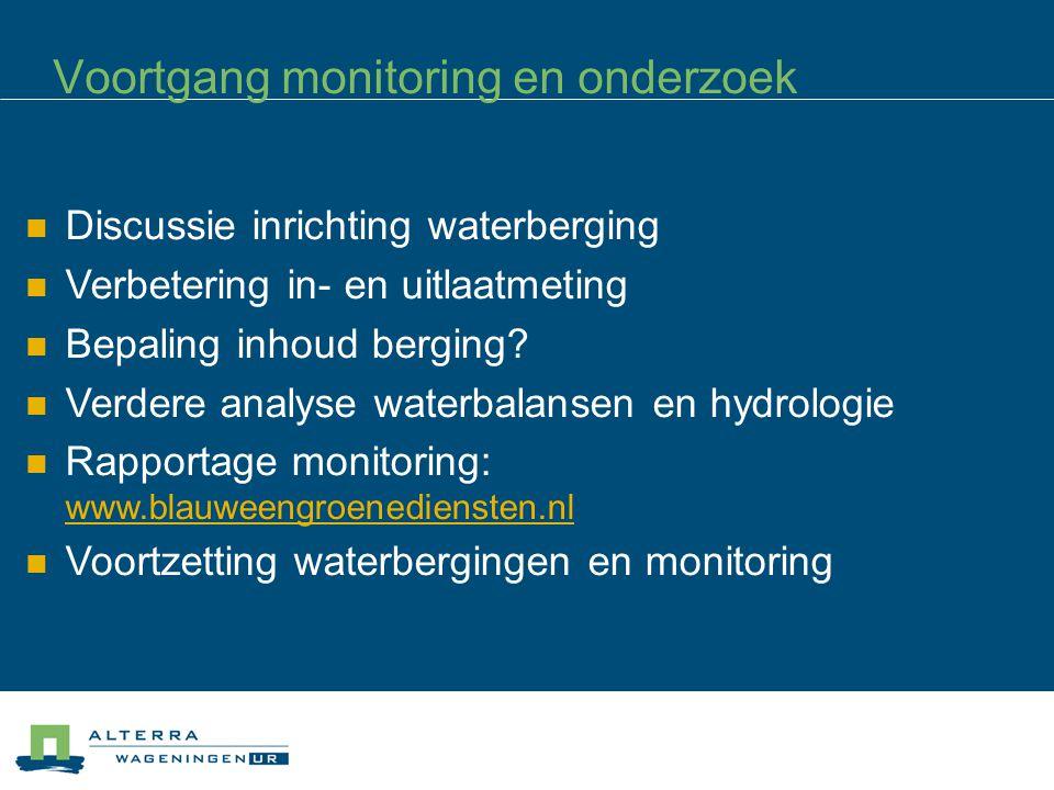 Voortgang monitoring en onderzoek Discussie inrichting waterberging Verbetering in- en uitlaatmeting Bepaling inhoud berging.