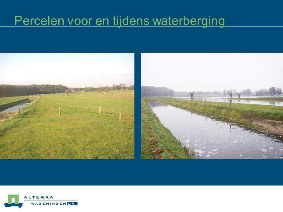 Percelen voor en tijdens waterberging