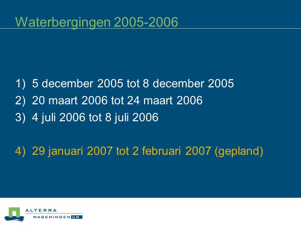 Waterbergingen 2005-2006 1) 5 december 2005 tot 8 december 2005 2) 20 maart 2006 tot 24 maart 2006 3) 4 juli 2006 tot 8 juli 2006 4) 29 januari 2007 tot 2 februari 2007 (gepland)