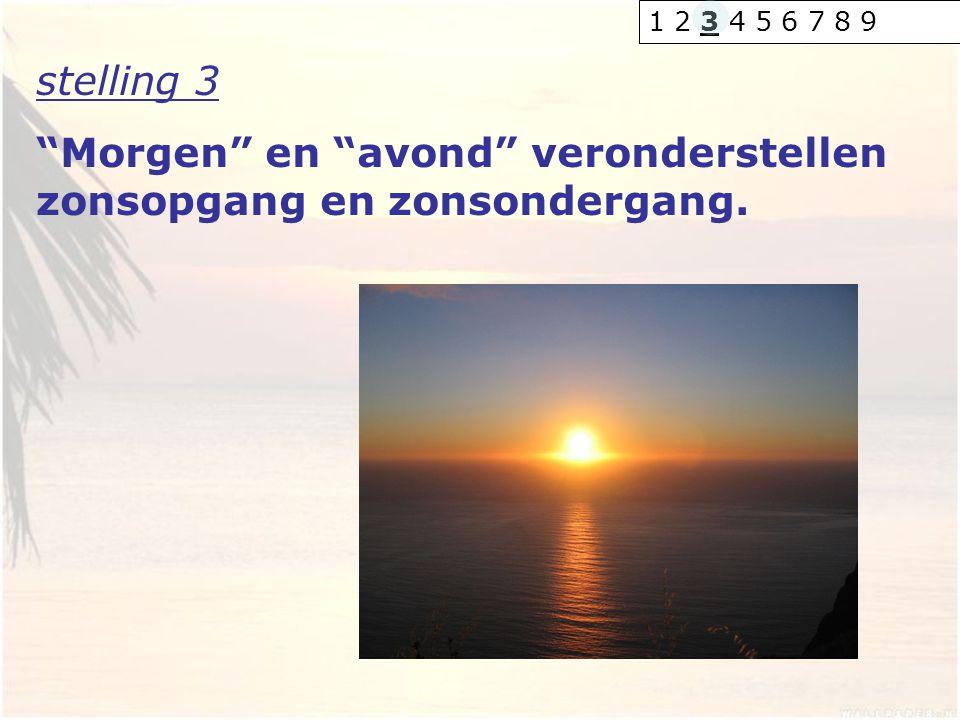 "stelling 3 ""Morgen"" en ""avond"" veronderstellen zonsopgang en zonsondergang. 1 2 3 4 5 6 7 8 9"