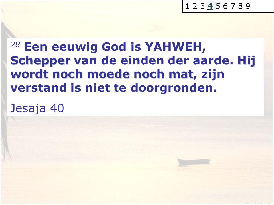 SchepperHij wordt noch moede noch mat 28 Een eeuwig God is YAHWEH, Schepper van de einden der aarde. Hij wordt noch moede noch mat, zijn verstand is n