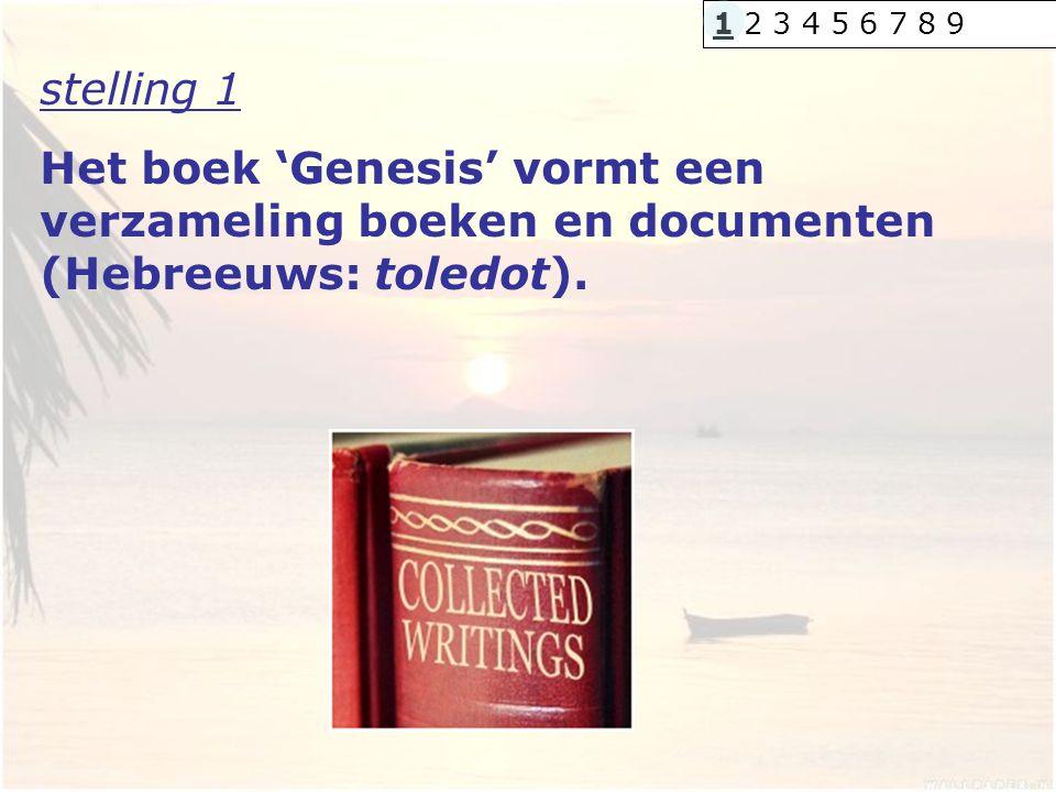 stelling 1 Het boek 'Genesis' vormt een verzameling boeken en documenten (Hebreeuws: toledot). 1 2 3 4 5 6 7 8 9