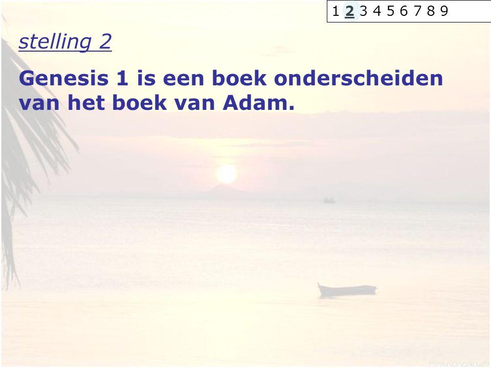 stelling 2 Genesis 1 is een boek onderscheiden van het boek van Adam. 1 2 3 4 5 6 7 8 9