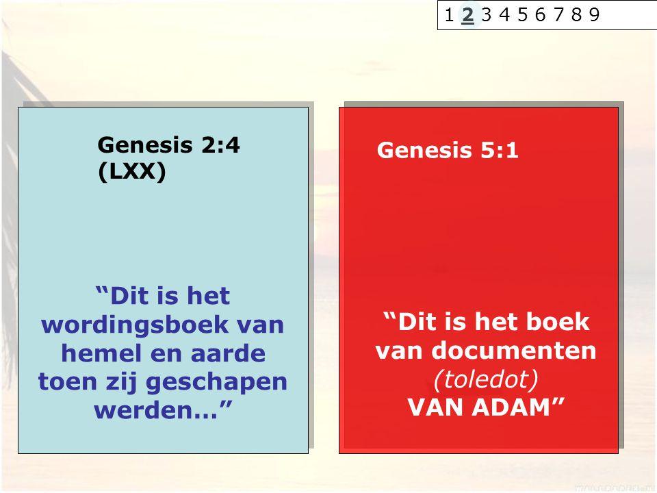 """Genesis 2:4 (LXX) """"Dit is het wordingsboek van hemel en aarde toen zij geschapen werden…"""" Genesis 5:1 """"Dit is het boek van documenten (toledot) VAN AD"""