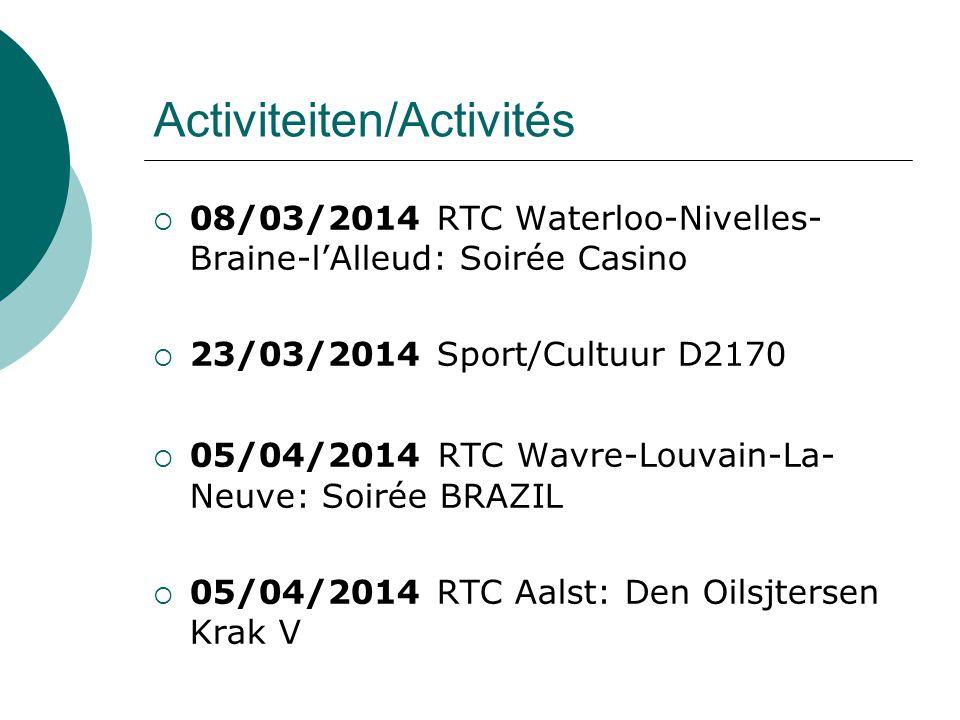 Activiteiten/Activités  08/03/2014 RTC Waterloo-Nivelles- Braine-l'Alleud: Soirée Casino  23/03/2014 Sport/Cultuur D2170  05/04/2014 RTC Wavre-Louvain-La- Neuve: Soirée BRAZIL  05/04/2014 RTC Aalst: Den Oilsjtersen Krak V