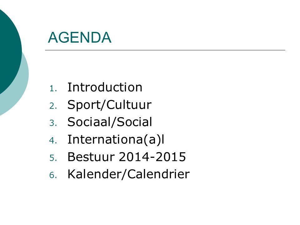 1. Introduction 2. Sport/Cultuur 3. Sociaal/Social 4.