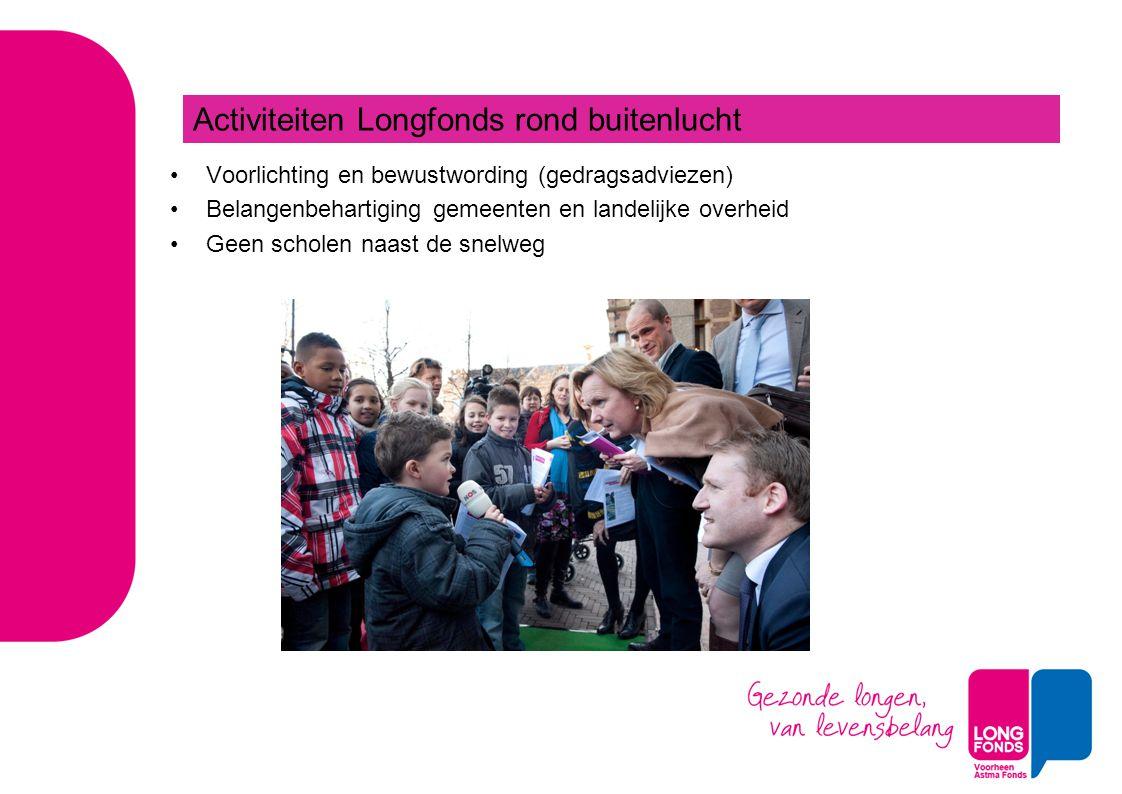 Voorlichting en bewustwording (gedragsadviezen) Belangenbehartiging gemeenten en landelijke overheid Geen scholen naast de snelweg Activiteiten Longfo