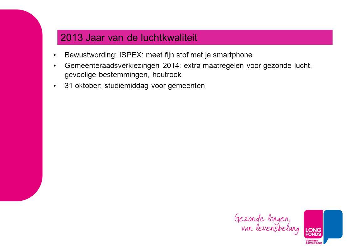 Bewustwording: iSPEX: meet fijn stof met je smartphone Gemeenteraadsverkiezingen 2014: extra maatregelen voor gezonde lucht, gevoelige bestemmingen, houtrook 31 oktober: studiemiddag voor gemeenten 2013 Jaar van de luchtkwaliteit