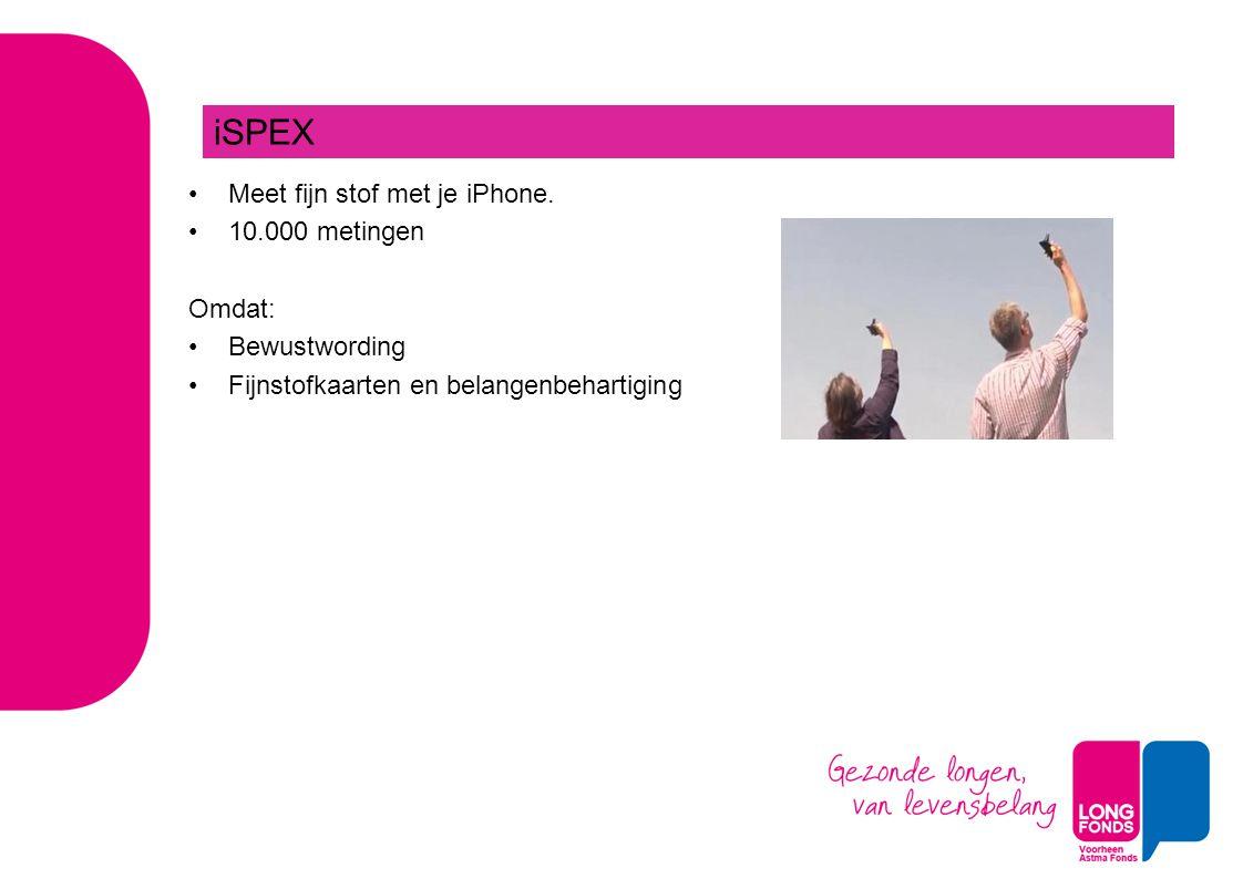 Meet fijn stof met je iPhone. 10.000 metingen Omdat: Bewustwording Fijnstofkaarten en belangenbehartiging iSPEX
