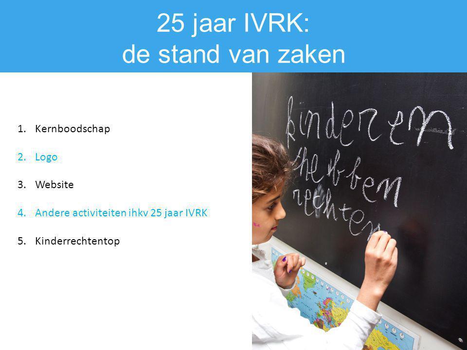 25 jaar IVRK: de stand van zaken 1.Kernboodschap 2.Logo 3.Website 4.Andere activiteiten ihkv 25 jaar IVRK 5.Kinderrechtentop