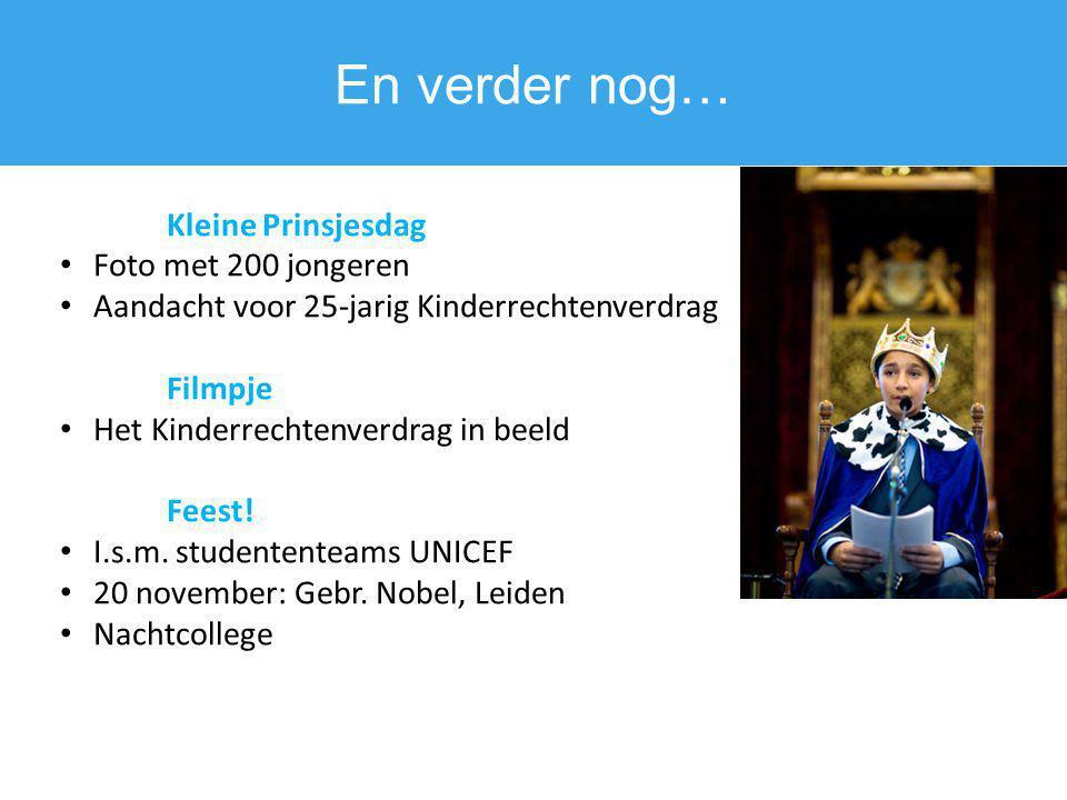 En verder nog… Kleine Prinsjesdag Foto met 200 jongeren Aandacht voor 25-jarig Kinderrechtenverdrag Filmpje Het Kinderrechtenverdrag in beeld Feest! I