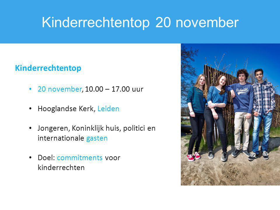 Kinderrechtentop 20 november Kinderrechtentop 20 november, 10.00 – 17.00 uur Hooglandse Kerk, Leiden Jongeren, Koninklijk huis, politici en internatio