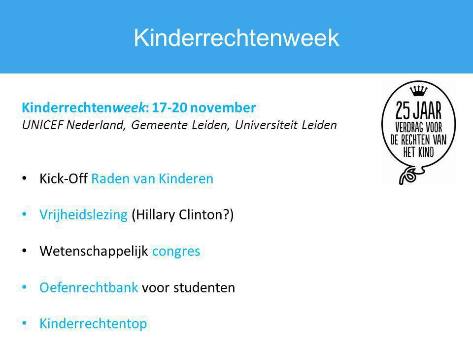 Kinderrechtenweek Kinderrechtenweek: 17-20 november UNICEF Nederland, Gemeente Leiden, Universiteit Leiden Kick-Off Raden van Kinderen Vrijheidslezing